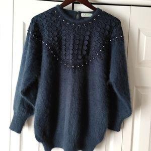 Unique angora long sleeve blue sweater sz S - M